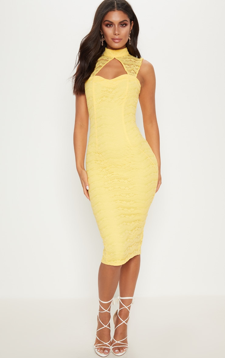 Yellow Lace High Neck Cut Out Detail Midi Dress