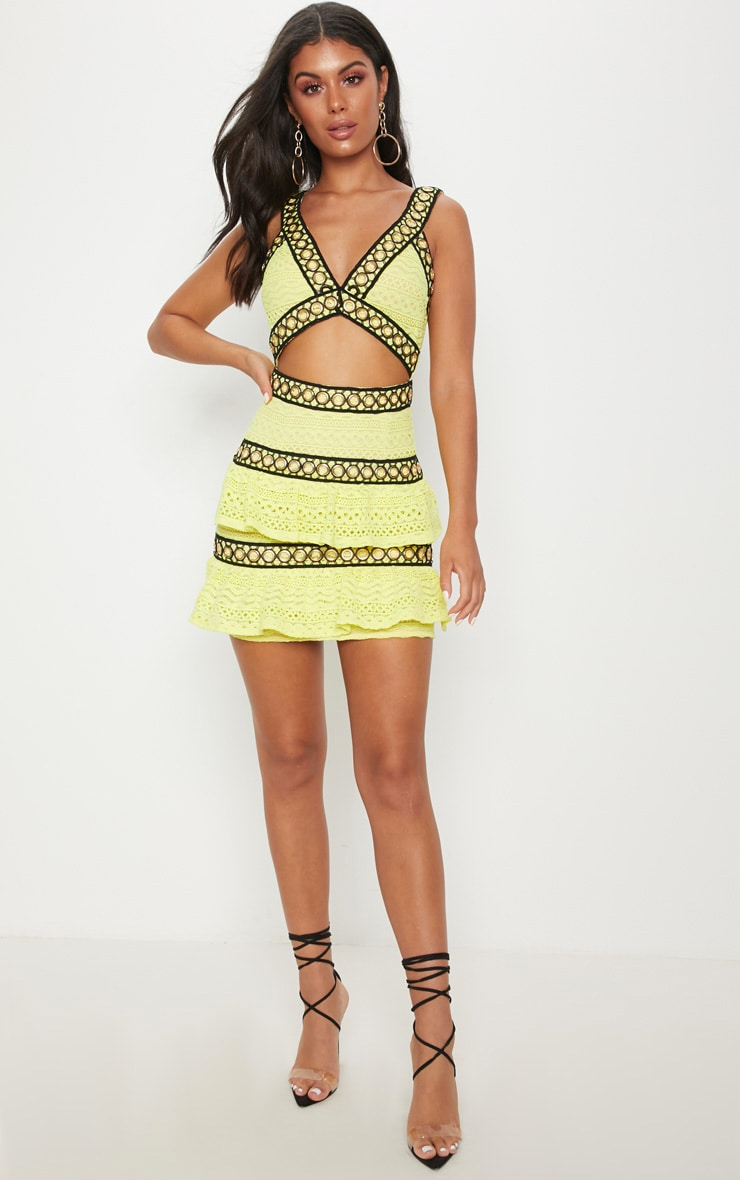 Neon Yellow Lace Contrast Eyelet Trim Tiered Bodycon Dress 4