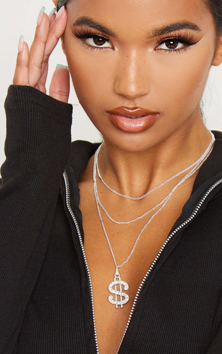 Silver Diamante Dollar Sign Layering Necklace 1