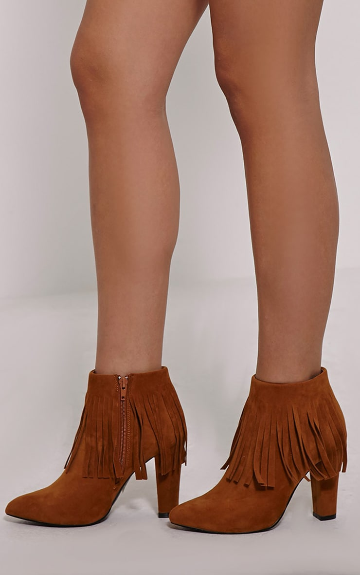 Ribah Tan Tassle Ankle Boots 1