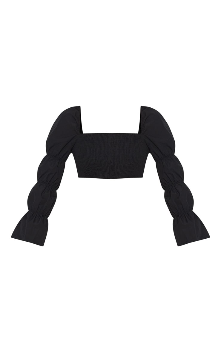 Black Ruched Long Sleeve Crop Top 3