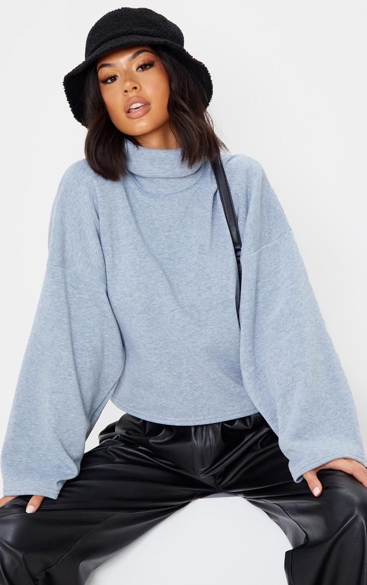 Grey Fleece Roll Neck Sweater 1