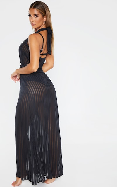Black Sheer Stripe Halterneck Maxi Beach Dress