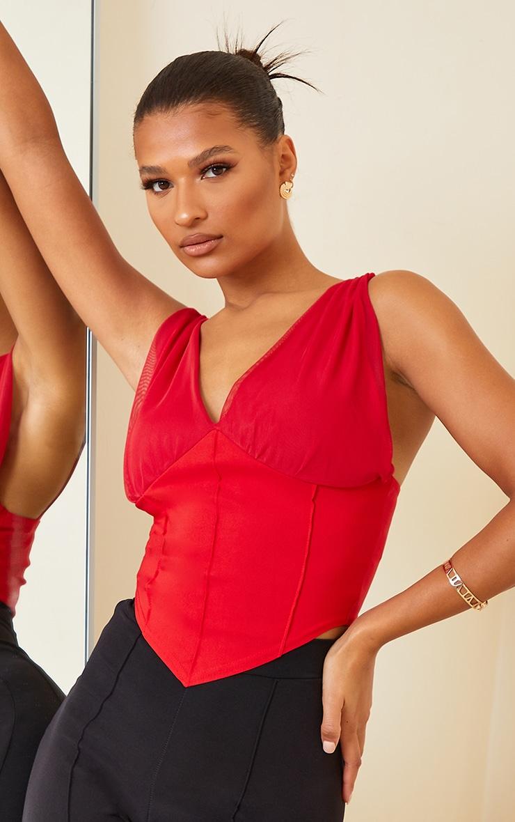 Red Bengaline Chiffon Strap Corset Detail Long Top 1