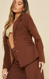 Chocolate Fitted Side Tie Up Corset Detail Blazer 4