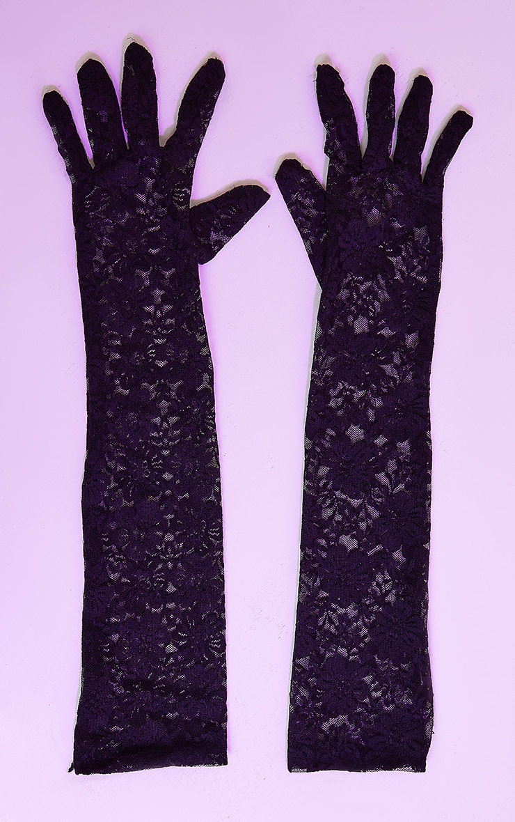 Black Long Lace Gloves 2