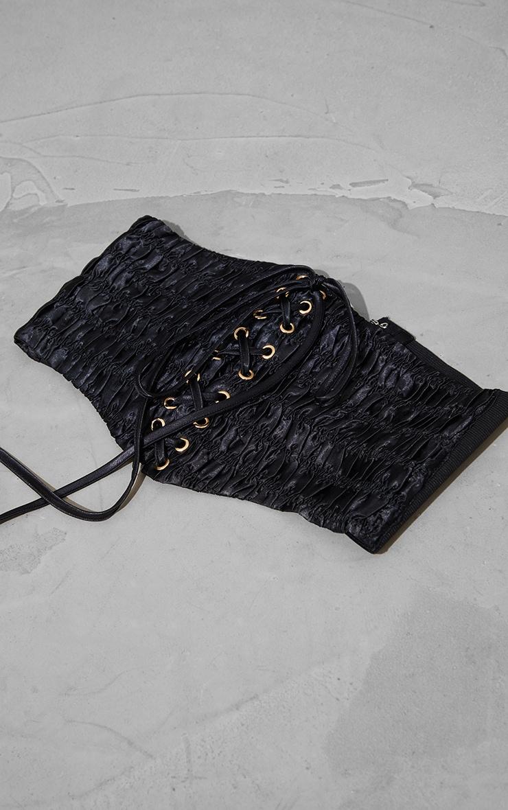 Black Ruched Front Corset Belt 1