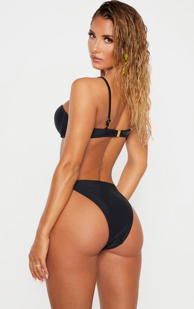 Black Center Strap Cupped Bikini Top 2