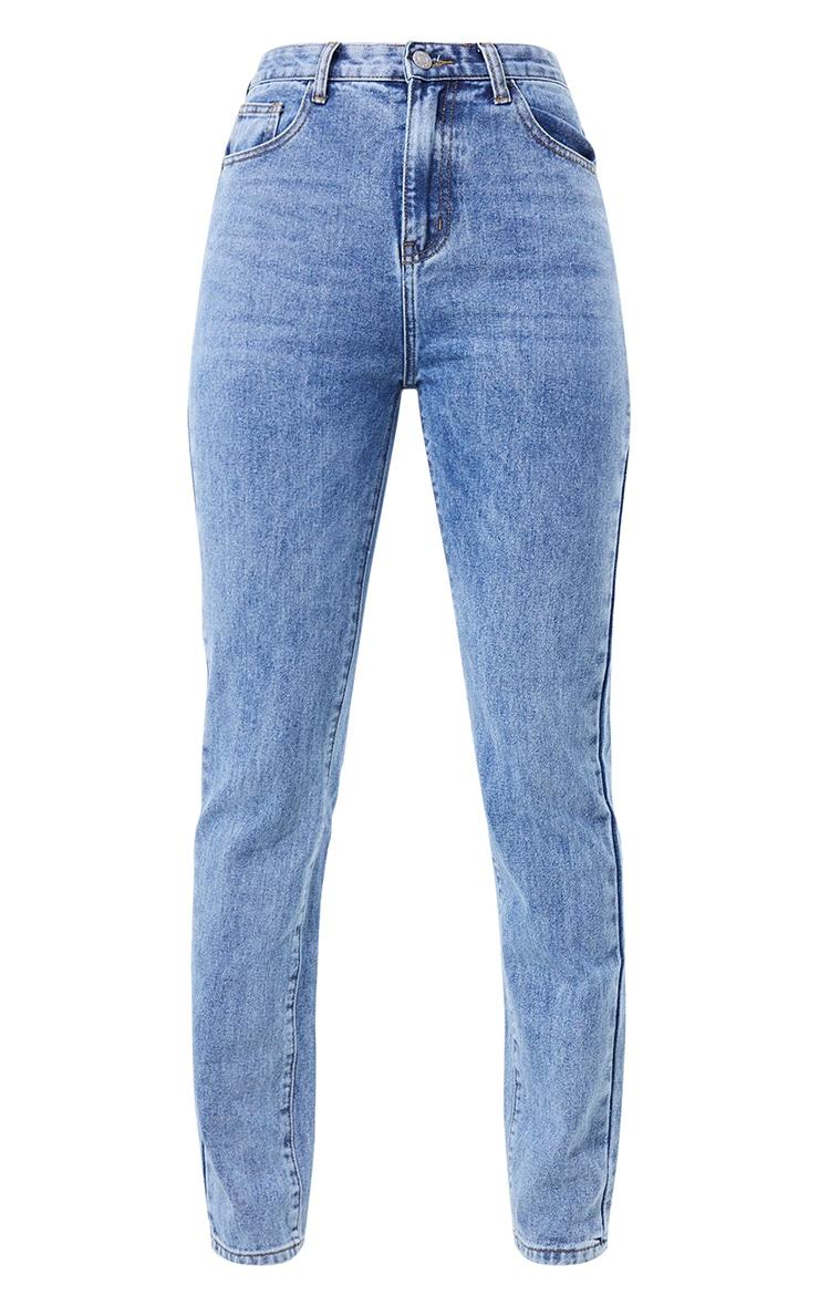 Jean skinny long bleu vintage délavé javélisé 5