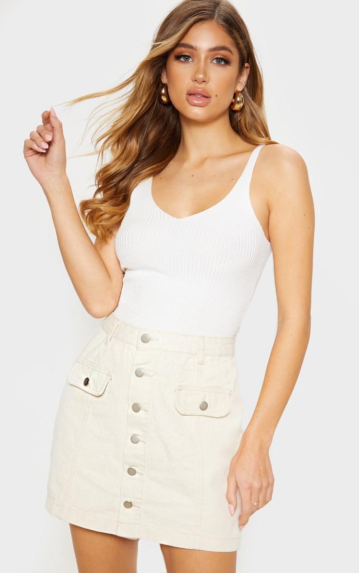 Ecru Pocket Detail Button Through Skirt 1