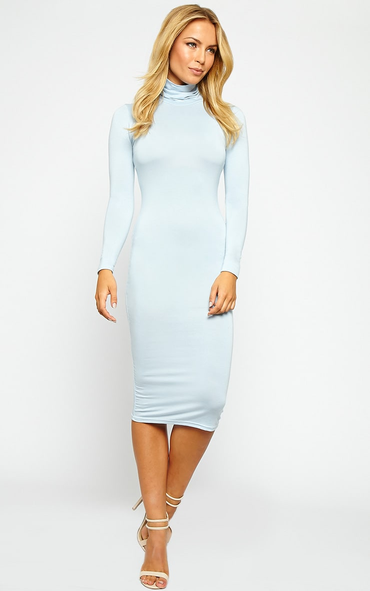 Basic Powder Blue Jersey Roll Neck Midi Dress 4