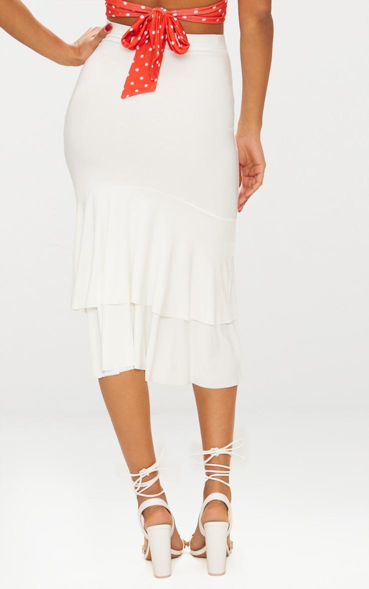 Cream Slinky Frill Hem Midi Skirt 4