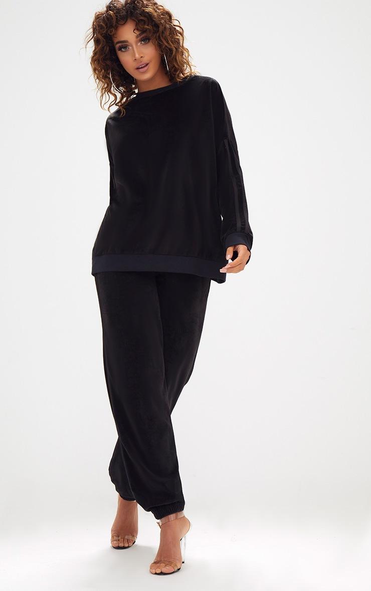 Black Velour Side Stripe Sweater 4