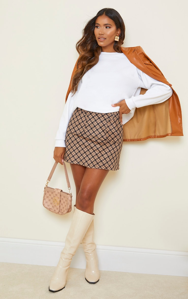 Brown Checked Soft Touch Pocket Detail Mini Skirt 1