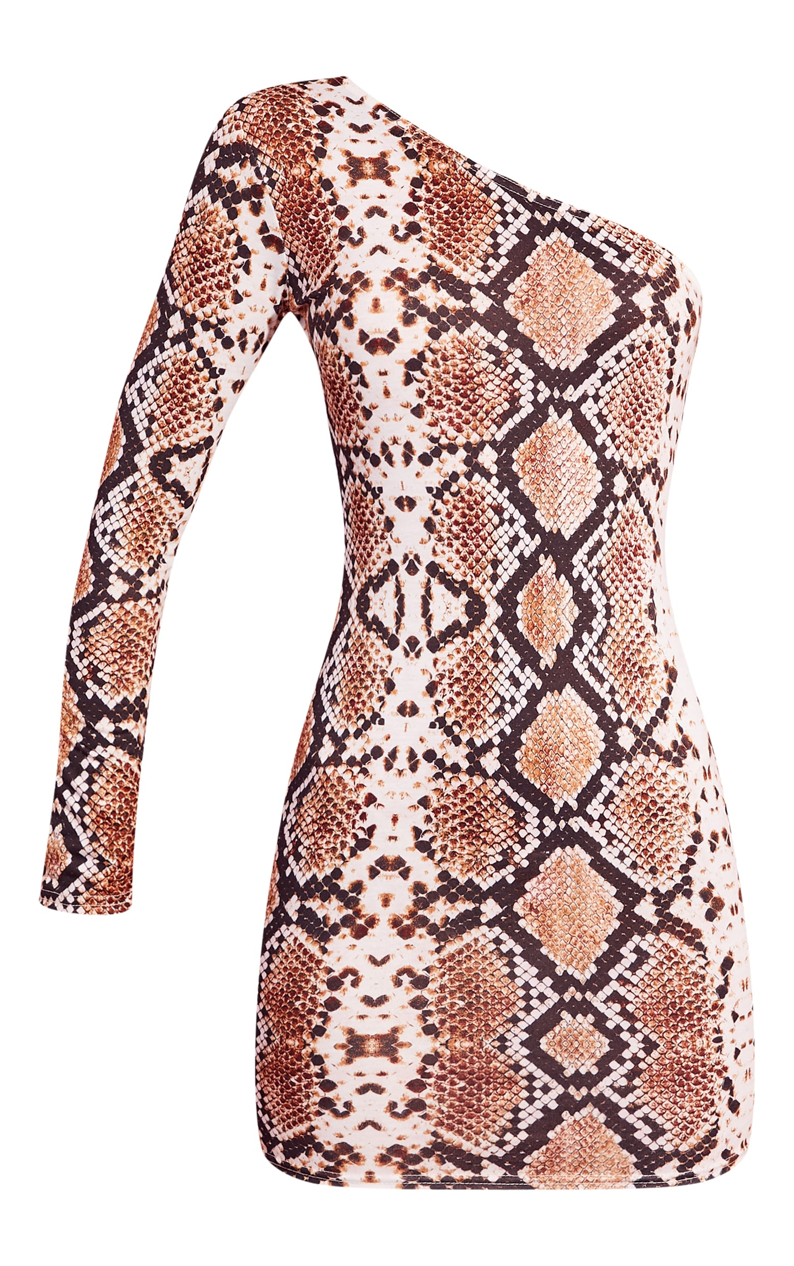 Snake Print One Shoulder Bodycon Dress 3