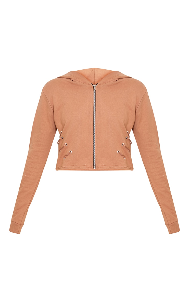 Imogen Peach Lace Up Detail Cropped Hoodie 3