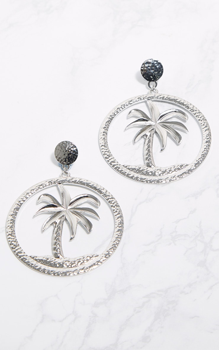 Silver Palm Tree Hoop Earrings 1