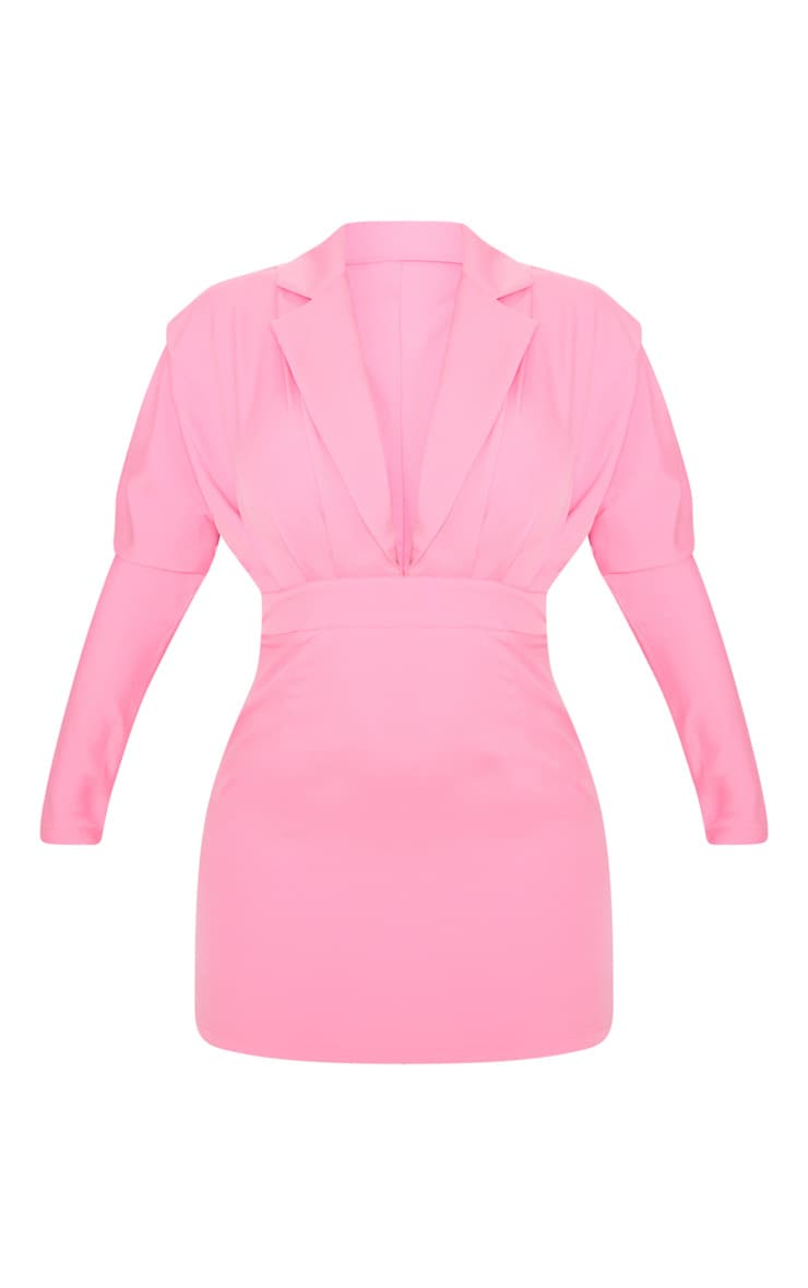 Bubble Gum Pink Pleat Detail Blazer Style Dress 3