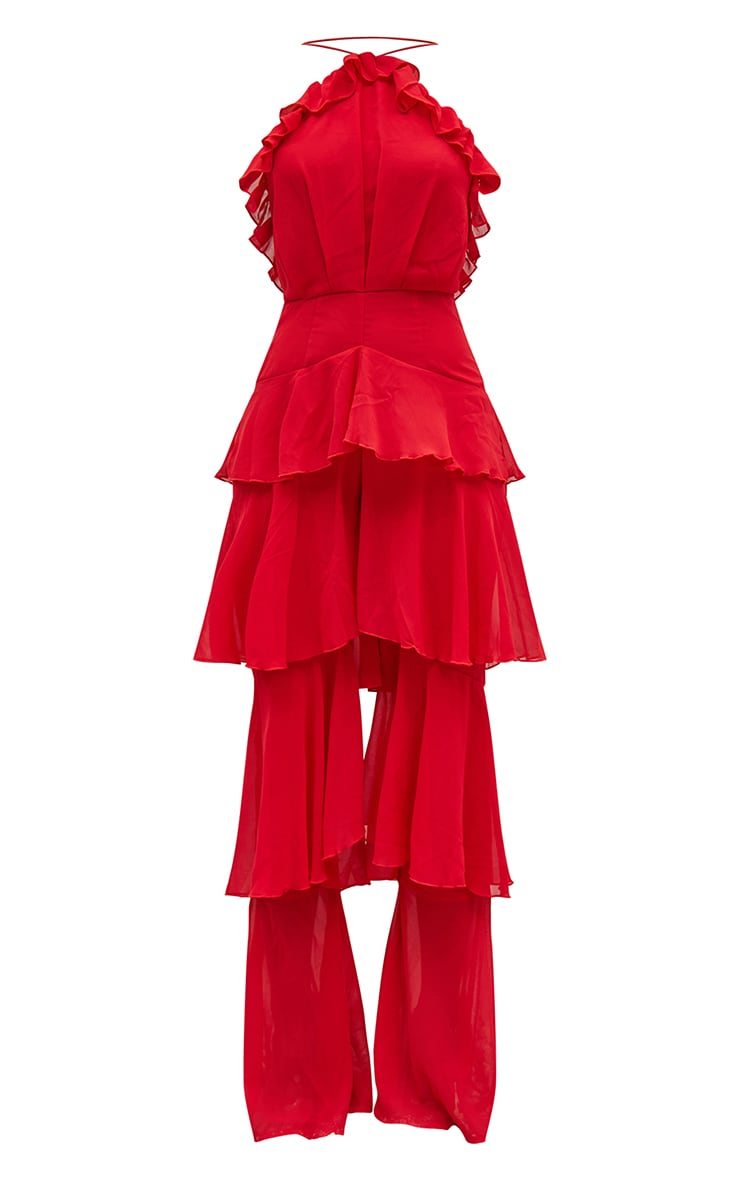 Red Tiered Chiffon Halterneck Jumpsuit 5