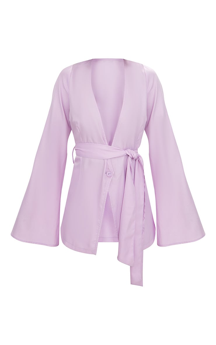 Petite Lilac Woven Belt Detail Blazer 3