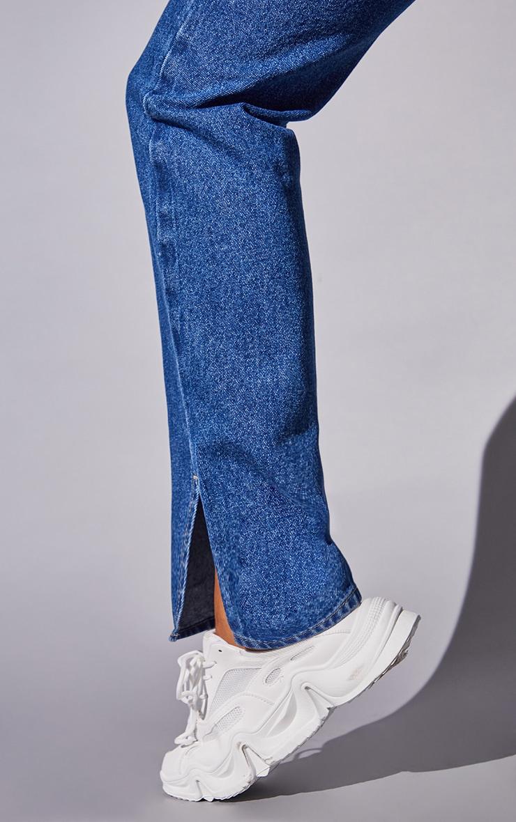Recycled Mid Blue Wash Basic Split Hem Jeans 4