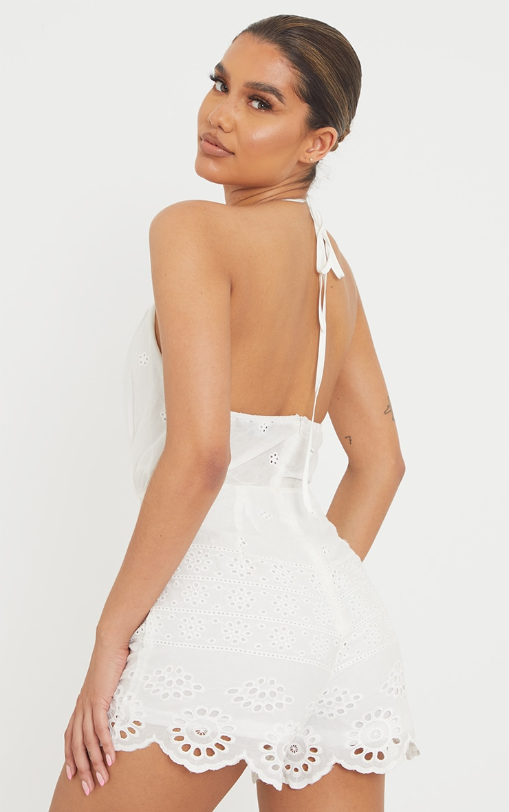 White Broderie Anglaise Halterneck Playsuit 2