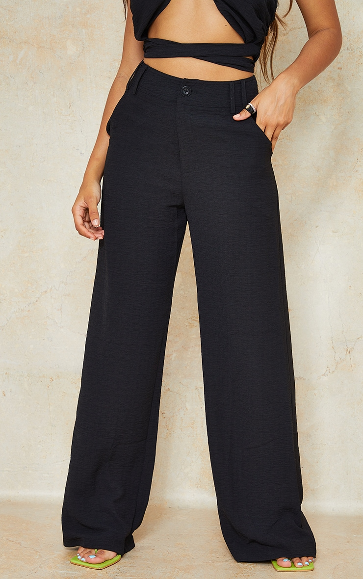 Petite Black High Waisted Pocket Detail Trousers 2