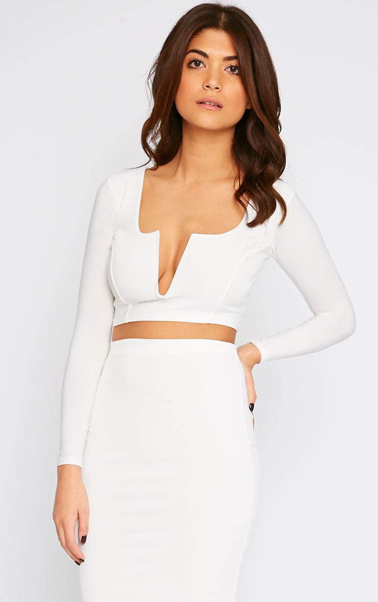 Bessie Cream Slinky Sweetheart Plunge Crop Top  1