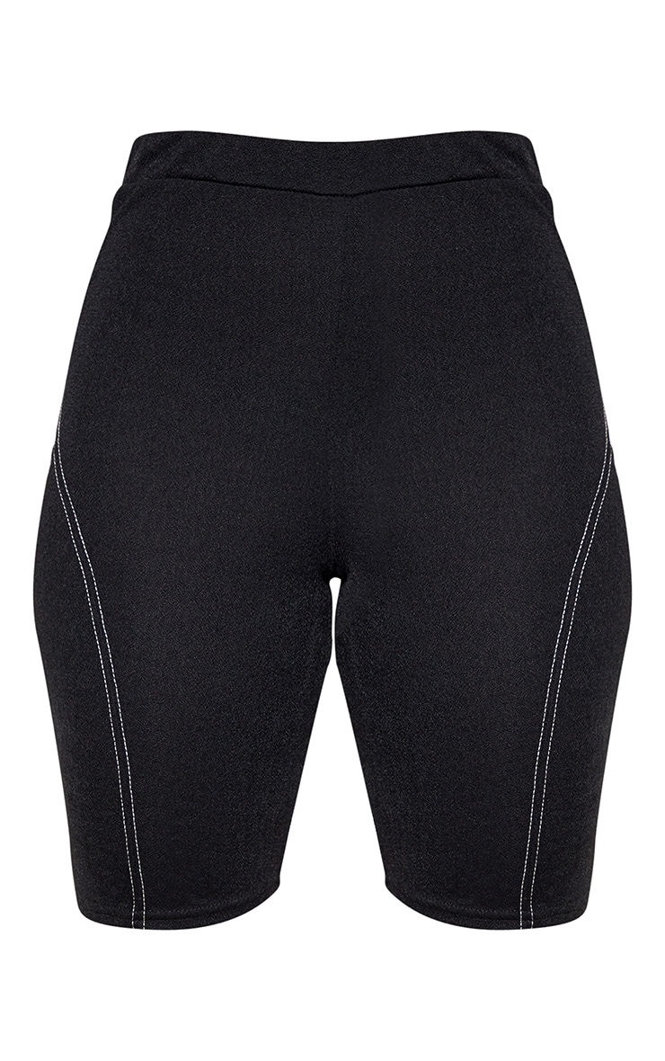 Black Contrast Stitch Longline Bike Shorts 3