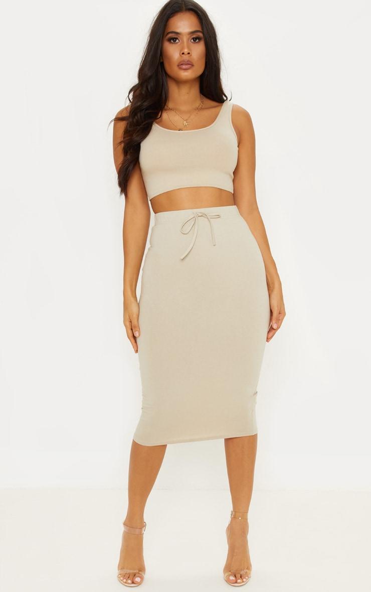 Sand Drawstring Waist Cotton Elastane Midi Skirt