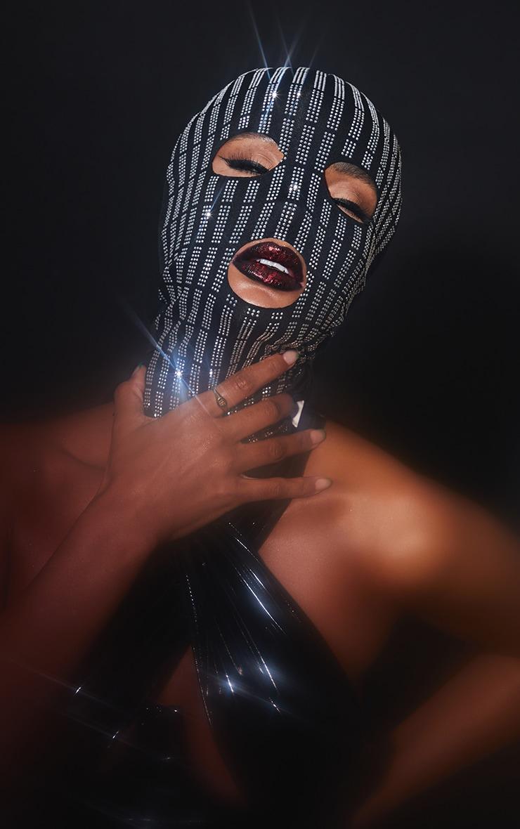 Black All Over Diamante Face Mask 1