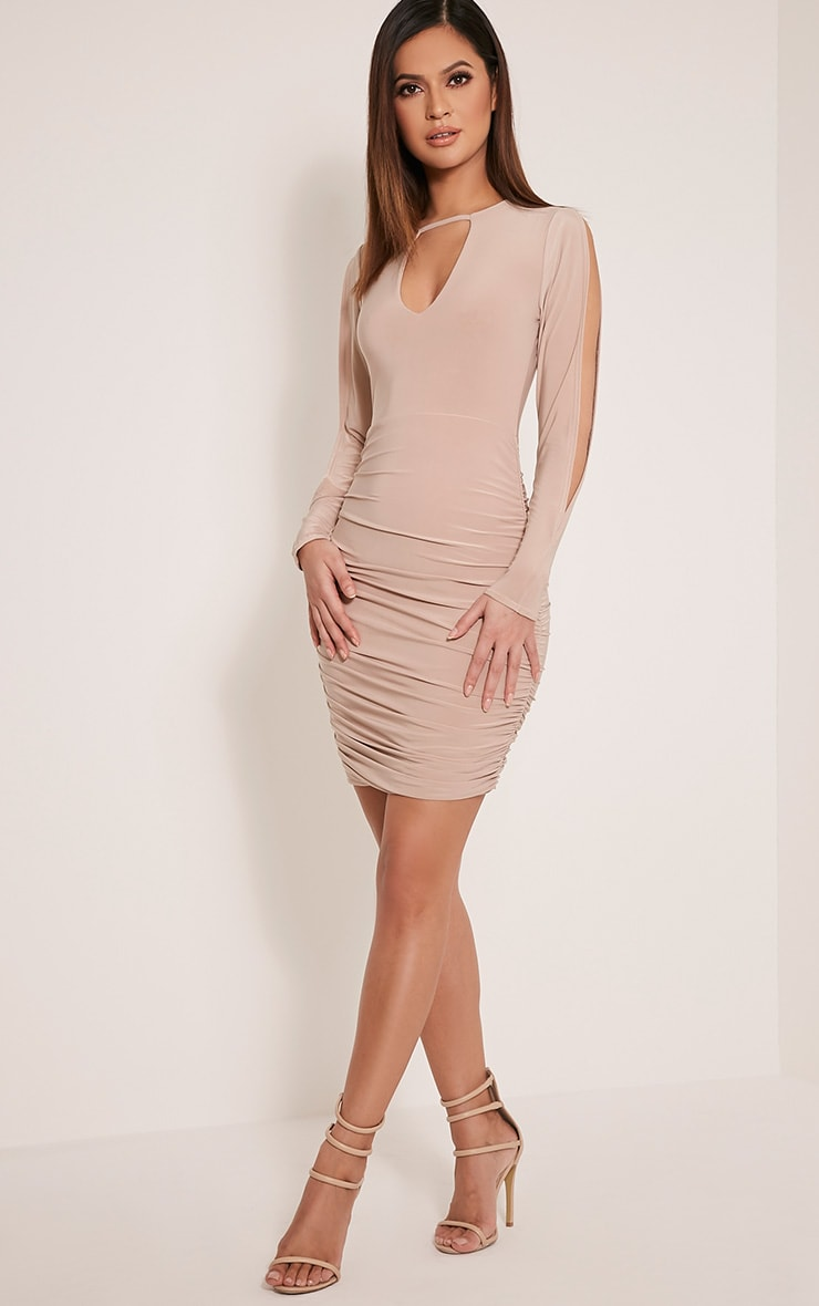 Stephanie Stone Open Sleeve Ruched Bodycon Dress 1