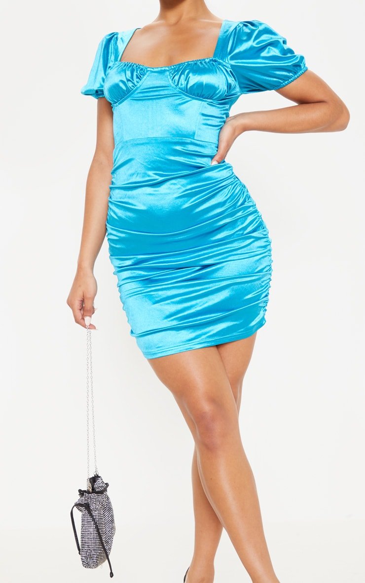 Aqua Blue Satin Cup Detail Ruched Bodycon Dress 5