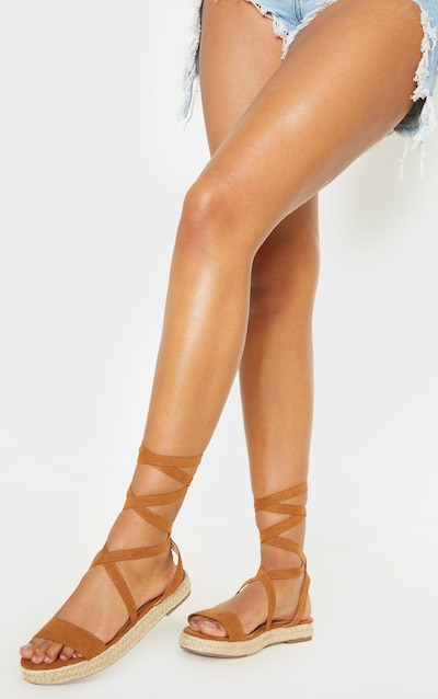 Tan Lace Up Espadrille Flatform Sandal