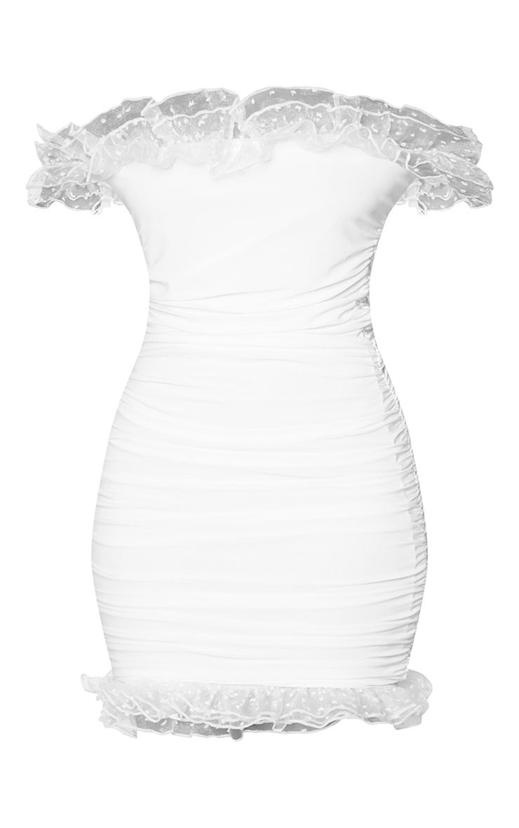White Slinky Dobby Mesh Frill Bardot Bodycon Dress 5