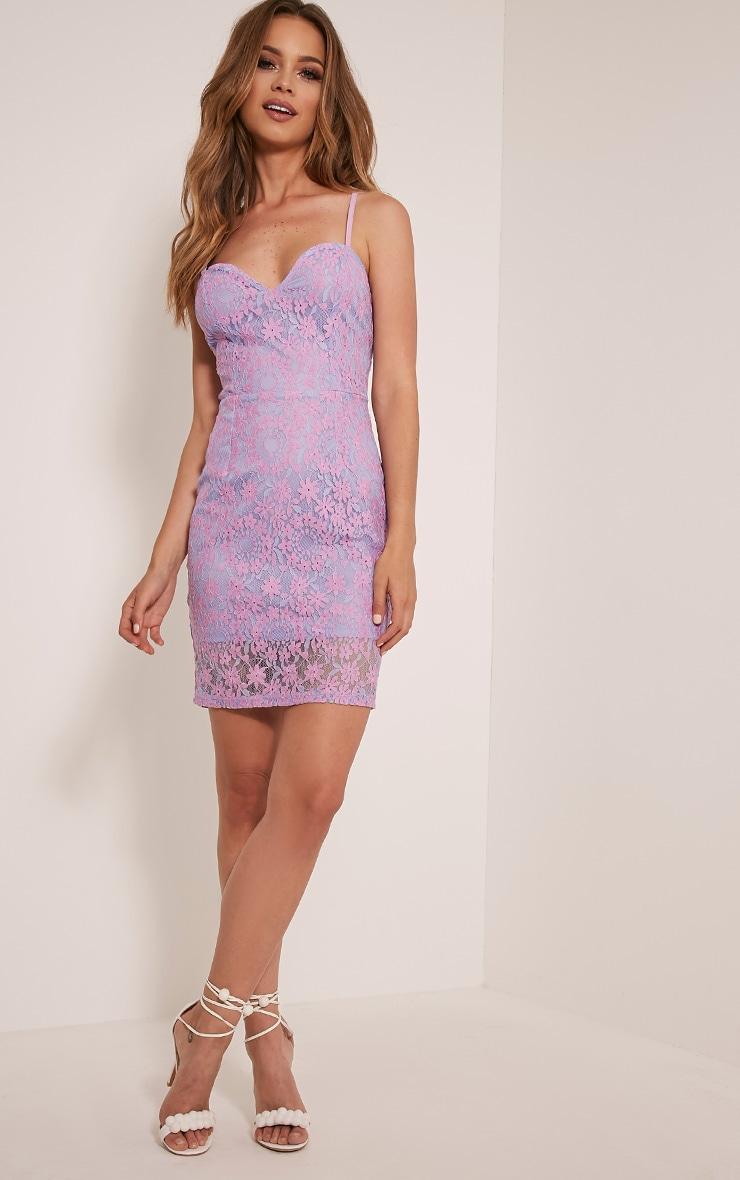 Meesha Lilac Lace Detail Mini Dress 5