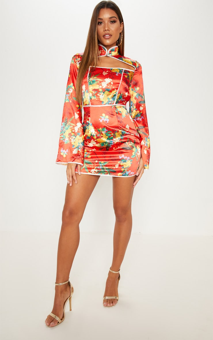 Red Satin Oriental Cut Out Flare Sleeve Bodycon Dress 1