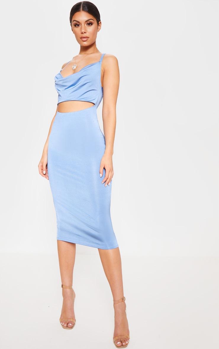 Blue Slinky Cut Out Centre Cowl Neck Bodycon Dress 1
