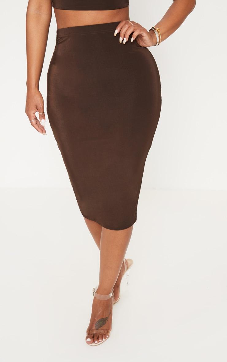 Shape Chocolate Slinky High Waist Midi Skirt 2