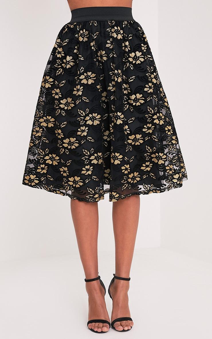Tilla Black Glitter Floral Tulle Skirt 2