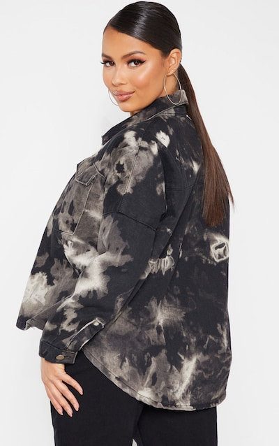 Petite Grey Tie Dye Oversized Denim Shirt