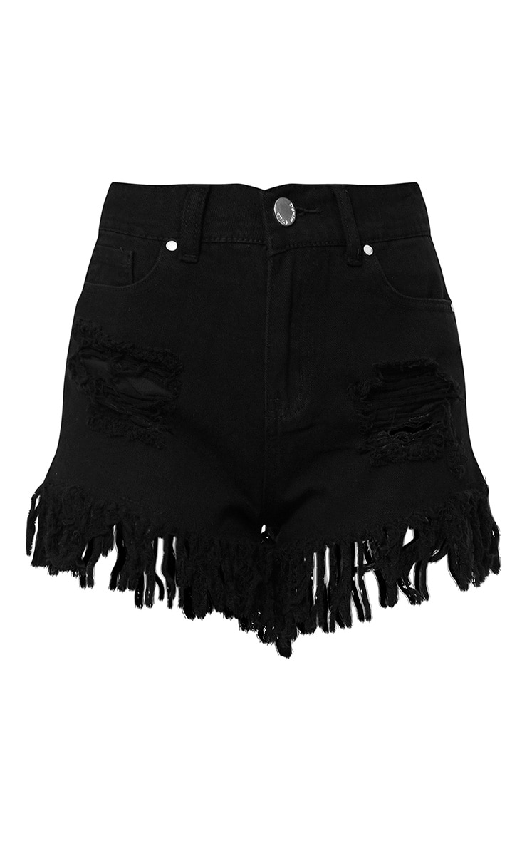 Rio Black Extreme Fray Hem Denim Short 3