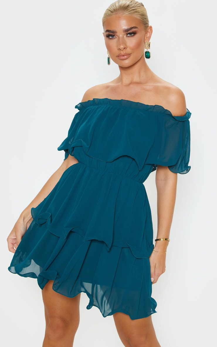 Emerald Green Chiffon Bardot Ruffle Tiered Dress 4