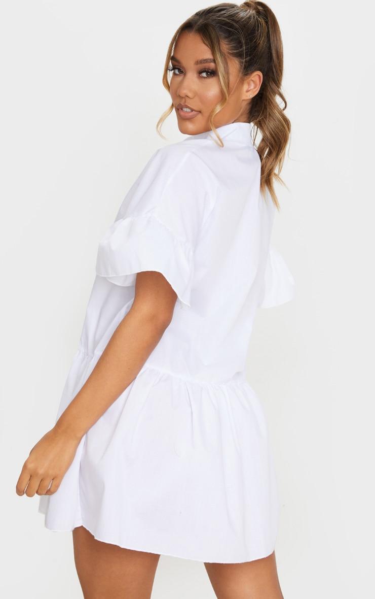 White Frill Detail Drop Hem Button Front Shirt Smock Dress 2