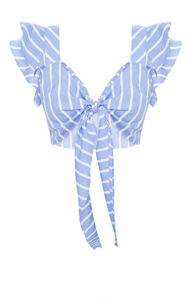 Blue Stripe Frill Tie Front Bralet  3