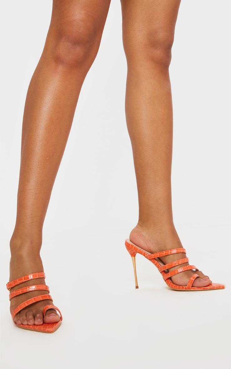 Orange Toe Loop Triple Strap Pin Heel Mule 2