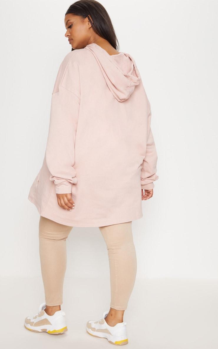 Plus Dusty Pink Oversized Hoodie 2