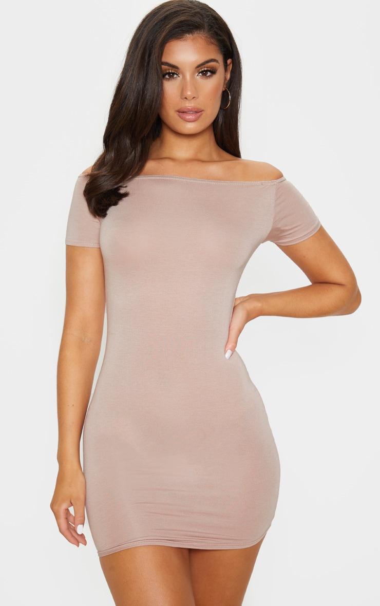Stone Short Sleeve Bardot Bodycon Dress 1