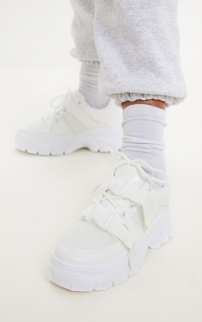 White Buckle Chunky Flatform Trainer