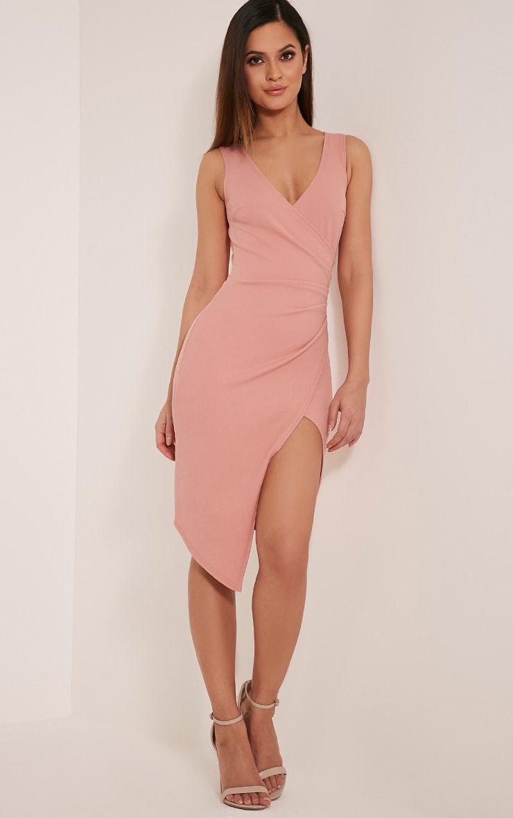 Karley Dusty Pink Wrap Front Crepe Midi Dress 1